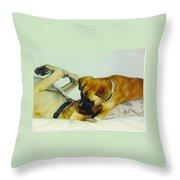 Great Dane And Australian Sheperd Throw Pillow