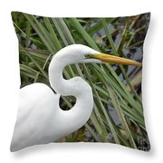 Great Egret Close Up Throw Pillow