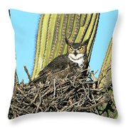 Great Horned Owl Bubo Virginianus Throw Pillow