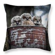 Great Horned Owl Chicks Throw Pillow