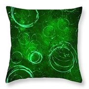 Green Bubbles Throw Pillow