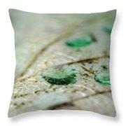 Green Drops Throw Pillow