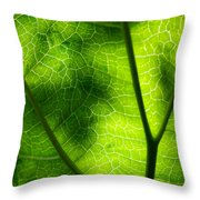 Green Leaf Throw Pillow