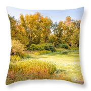 Green Pond And Tree Throw Pillow