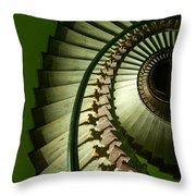 Green Spiral Staircase Throw Pillow