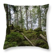 Green Untouched Forest Throw Pillow