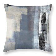 Blocked - Grey And Beige Abstract Art Painting Throw Pillow