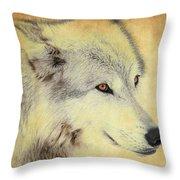 Grey Wolf Art Throw Pillow