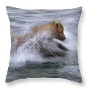 Grizzly Bear Chasing Fish Throw Pillow