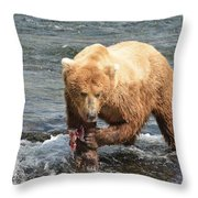 Grizzly Bear Salmon Fishing Throw Pillow