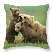 Grizzly Cubs Play With Mom Throw Pillow