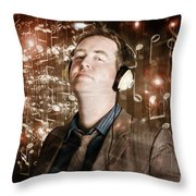 Groovy Retro Clubbing Guy At A Silent Trance Rave Throw Pillow