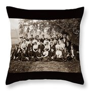 Group Under Tree Throw Pillow