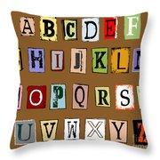 Grunge Alphabet Throw Pillow