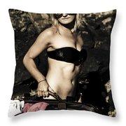 Grunge Babe On Holidays Throw Pillow