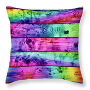 Grunge Colorful Wood Planks Background Throw Pillow