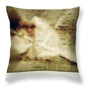 Grunge Newspaper Throw Pillow