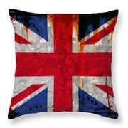 Grunge Union Flag Throw Pillow
