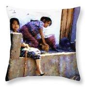 Guatemalan Children Gathered Throw Pillow