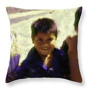 Guatemalan Kids Throw Pillow