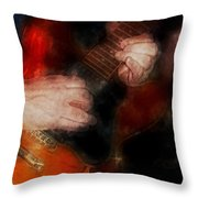 Guitar Traveling Pigments Throw Pillow