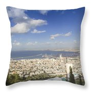 Haifa Bay Panorama Throw Pillow