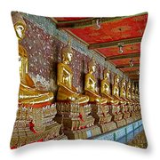 Hall Of Buddhas At Wat Suthat In Bangkok-thailand Throw Pillow