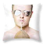 Handsome Summer Man Drinking Coconut Cocktail Throw Pillow