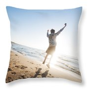 Happiness In The Beach Scenery Throw Pillow