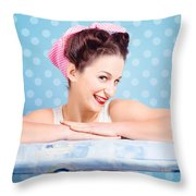 Happy 60s Pinup Housewife On Blue Ironing Board Throw Pillow