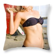 Happy And Excited Woman Jumping At Beach Throw Pillow
