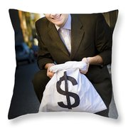 Happy Business Man Smiling With Money Bag Throw Pillow