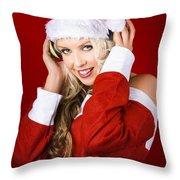 Happy Dj Christmas Girl Listening To Xmas Music Throw Pillow