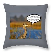 Happy Heron Anniversary Card Throw Pillow
