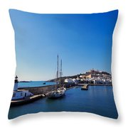 Harbor In Ibiza Town Throw Pillow