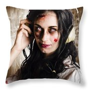 Hard Rock Zombie Listening To Death Metal Music Throw Pillow