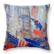 Hassam's Allies Day May 1917 -- The Avenue Of The Allies Throw Pillow