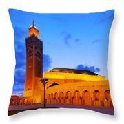 Hassan II Mosque In Casablanca Throw Pillow