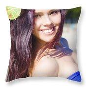 Hawaiian Girl In Hawaii Throw Pillow