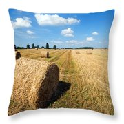 Haystacks In The Field Throw Pillow