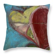 Heart Shape Painted On A Wall, Safed Throw Pillow