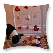 Hearts On The Line Throw Pillow