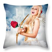 Heavenly Angel Of Love With Flower Arrow Throw Pillow