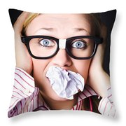 Hectic Business Person Under Stress Overload Throw Pillow