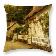 Helford Cottages Throw Pillow