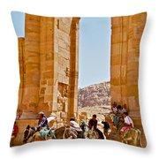 Hellenistic Gateway In Petra-jordan  Throw Pillow