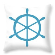 Helm In White And Turquoise Blue Throw Pillow