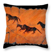 High Desert Horses Throw Pillow