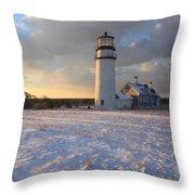 Highland Lighthouse Winter Sunset Throw Pillow