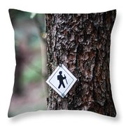 Hiking Trail Sign On The Forest Paths Throw Pillow